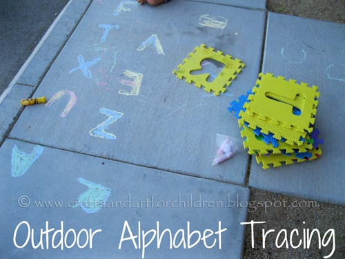 Outdoor Alphabet Tracing Activity for kids