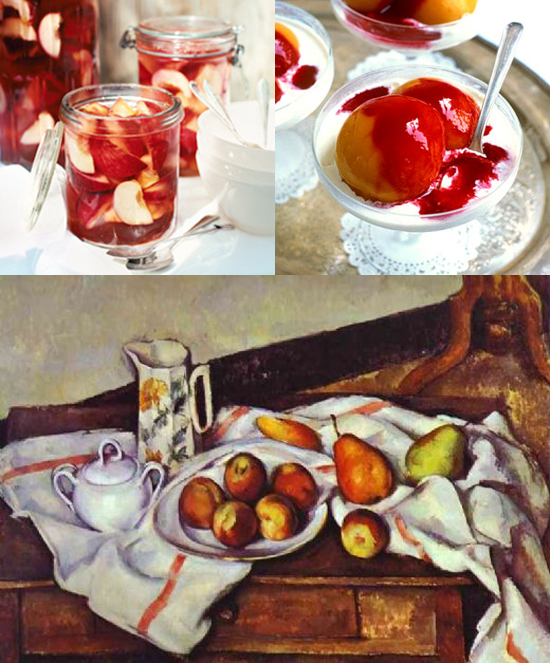 Recipe 1: White peaches in pink champagne jelly - Donna Hay
