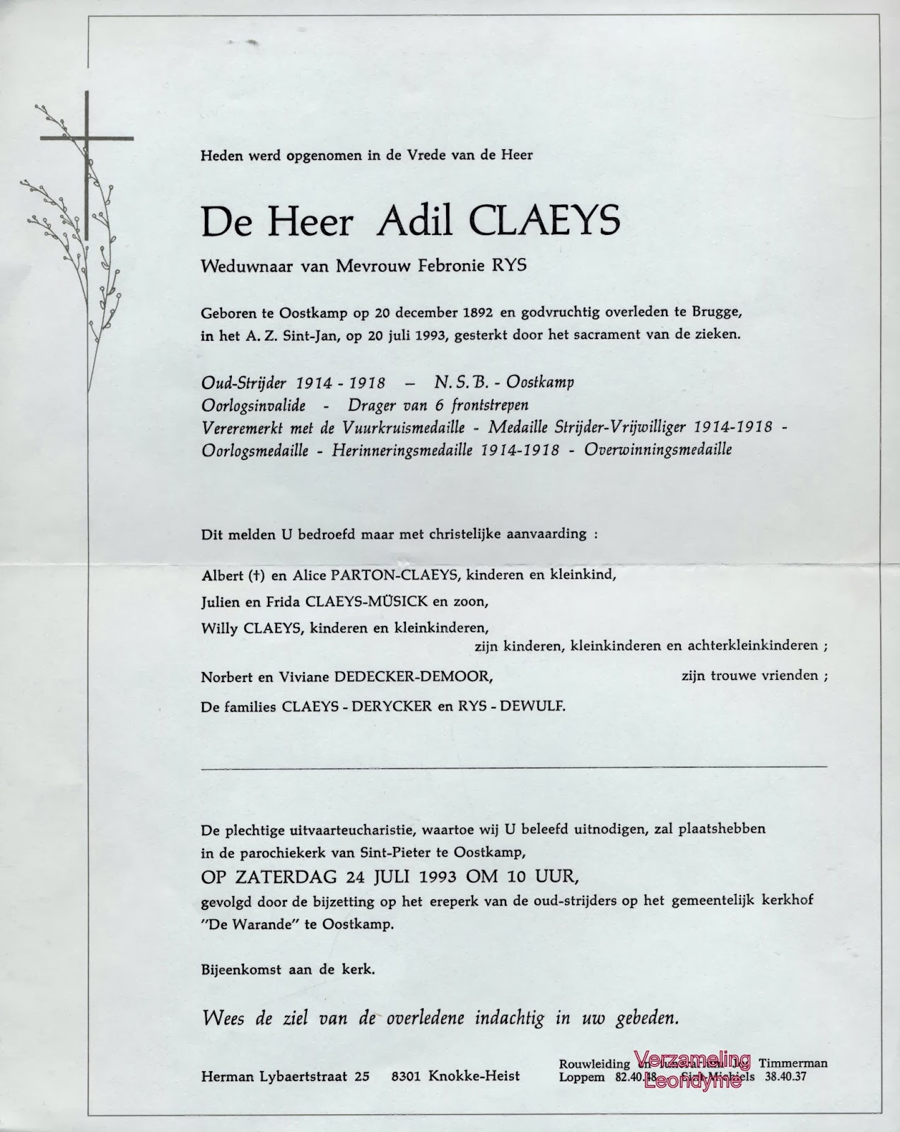 Rouwbrief Adil Claeys. Verzameling Leondyme