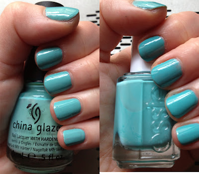 China Glaze, China Glaze For Audrey, Essie, Essie Where's My Chauffeur, nail polish swatches, comparison swatches, nail polish, nail varnish, nail lacquer, manicure, mani monday, #manimonday, nails, nail polish dupes