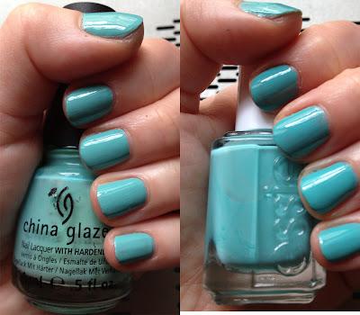 China Glaze, China Glaze For Audrey, Essie, Essie Where's My Chauffeur, nail polish swatches, comparison swatches, nail polish, nail varnish, nail lacquer, manicure, mani monday, #manimonday, nails, nail polish dupes