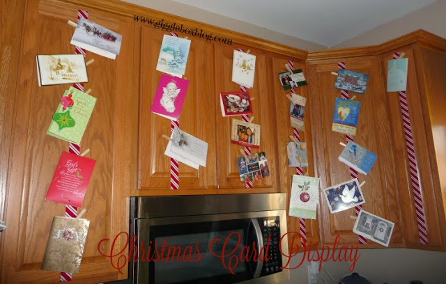 use your Christmas cards as an ever growing Christmas decoration by displaying them in on your kitchen cabinets, Christmas card display,