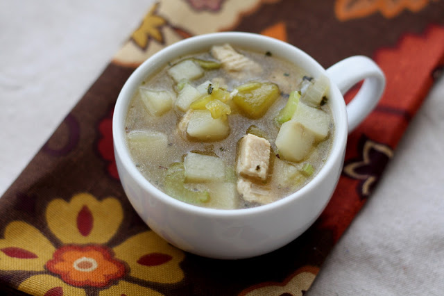 Green Chile Chicken and Potato Soup recipe by Barefeet In The Kitchen