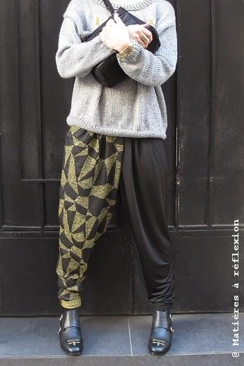 look du jour pantalon graphique et sac vintage