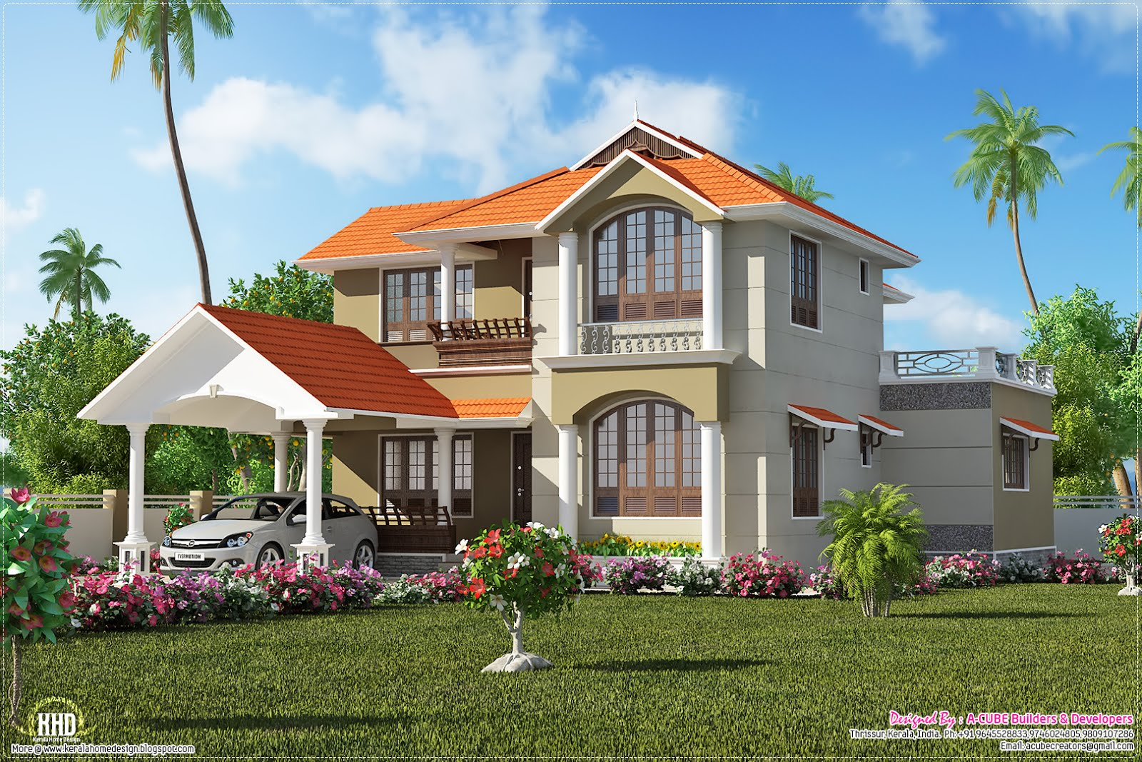 2500 kerala villa plan kerala home design and for Kerala style villa plans
