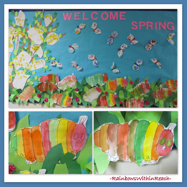 photo of: Spring bulletin board with insects, butterflies and blooming tree