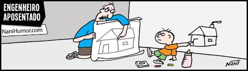 Tiras: Os aposentados. engenheiro