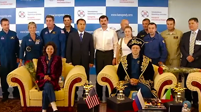 Welcome ceremony at Karaganda. NASA 2011.