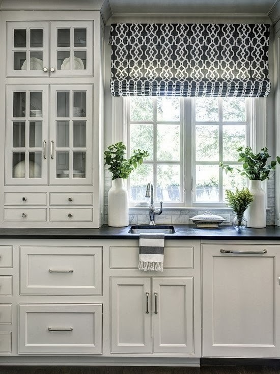 kitchen window ideas, window curtains, roman blinds