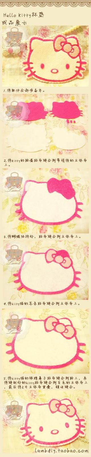Hello Kitty em feltro passo a passo e moldes