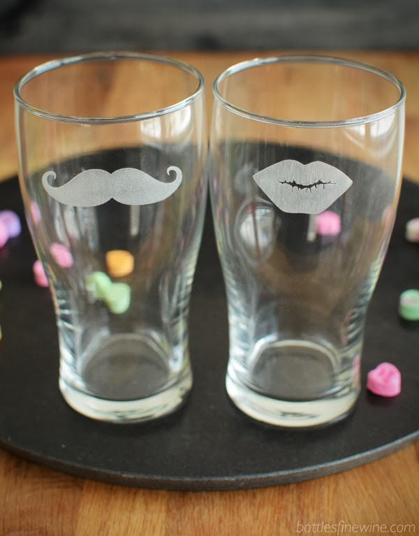 Moustache, Lips Beer Glass - Add a Personalized Message