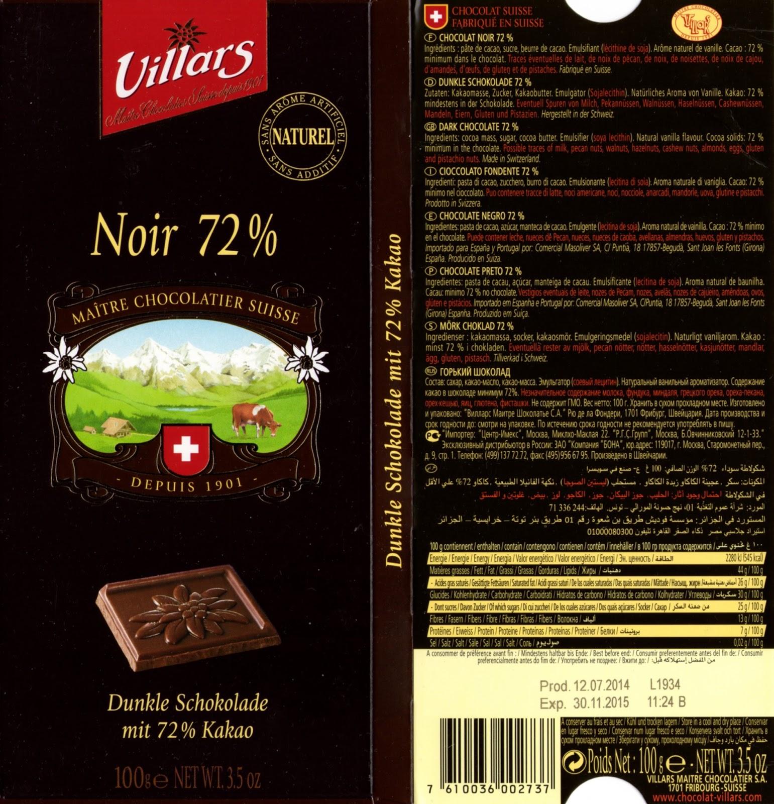 tablette de chocolat noir dégustation villars noir 72