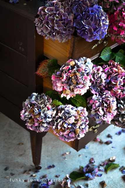 Stuff an empty dresser with hydrangeas for a dynamic display. via Funky Junk Interiors