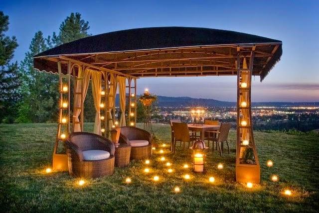 Gazebo with lights create romantic mood miscellaneous garden - Gazebos de madera ...