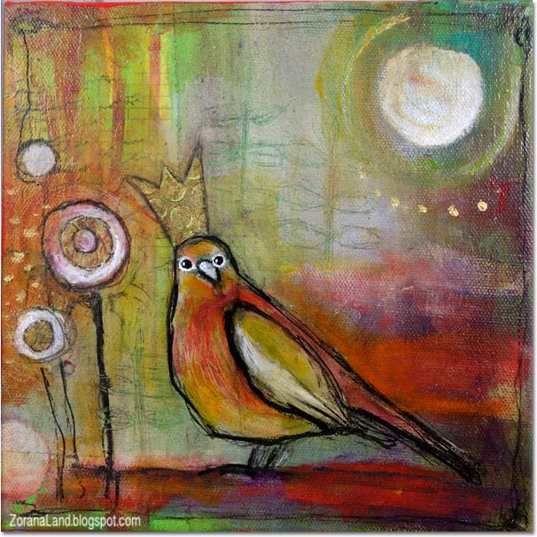 mixed media painting  canvas bird crown Zorana art Zoranaland