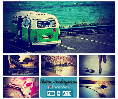 PHOTOSHOP RETRO ACTIONS+PSD  ALA INSTAGRAM