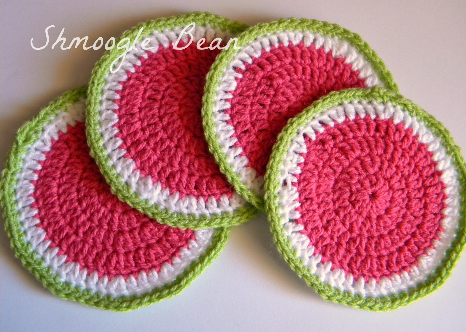 Crocheting Coasters : The Quirky Crafting Shmoogle Bean: Watermelon Crochet Coasters