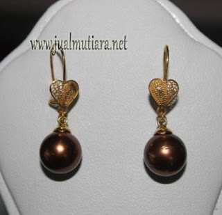 Anting Emas Model Kenari Mutiara Air Laut