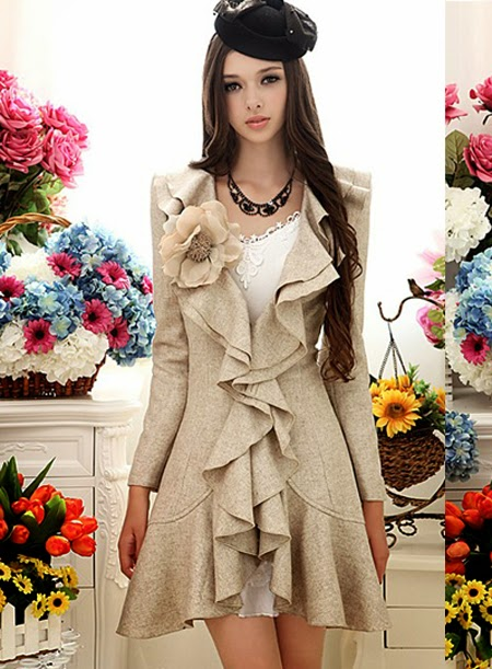High Quality Gorgeous Beige Double Falbala Hem Slim Warm Woolen Overcoat