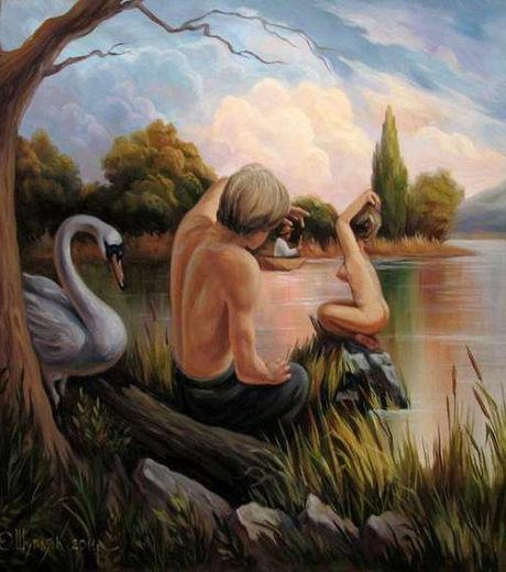 Peinture Trompe L Oeil Tableau l'homme invisible en personne: trompe-l'oeil