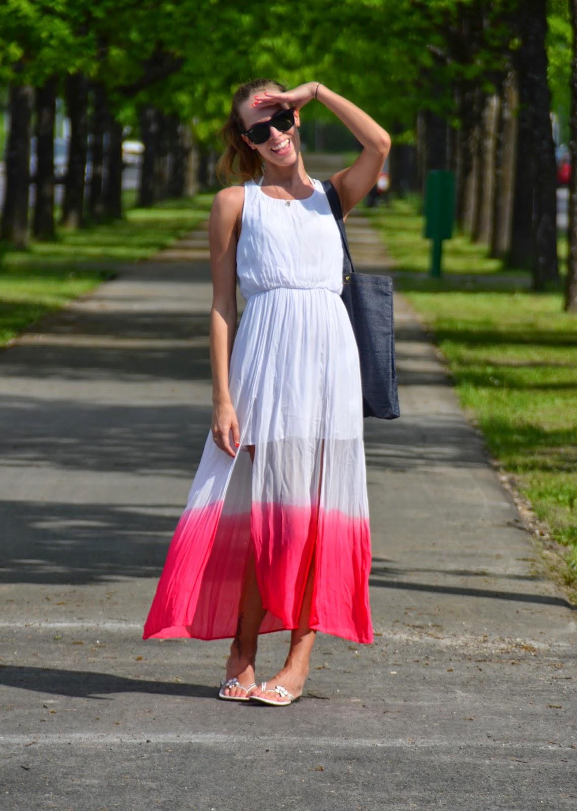 gina tricot white ombre maxi dress