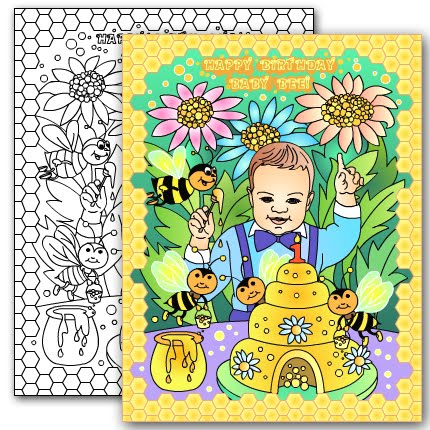 NEW* BABY BEE Custom coloring page