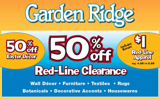 Garden Ridge Cash Back – Coupons & Promo Codes CODES Get Deal Use any of the great garden ridge coupons offered on bossmixe.gq to maximize your savings and your GARDEN RIDGE shopping experience! Be sure to note any special requirements that GARDEN RIDGE may have in order to use the garden ridge coupons and discounts. $50 off Bead and Crystal Decor Orders of $+.