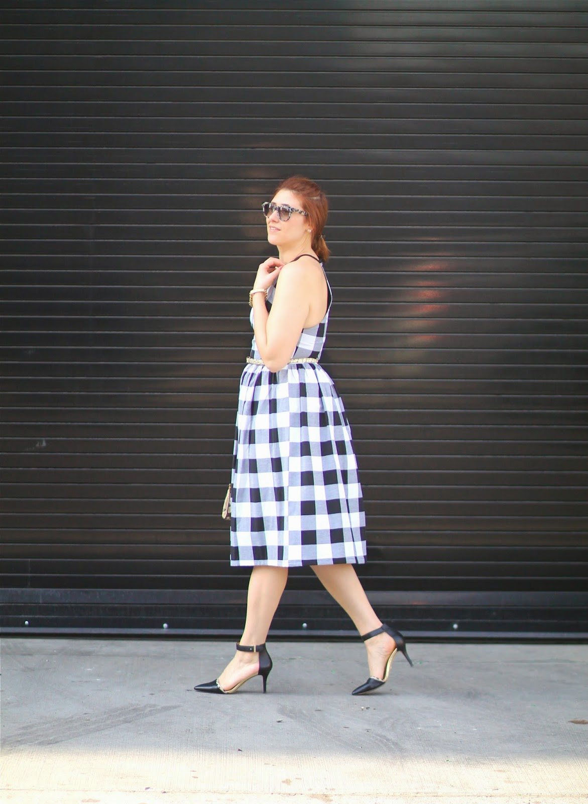 gingham, dress, midi, asos, ann taylor, heels