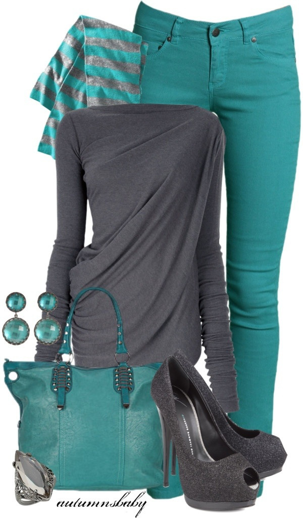 Stylish grey and green combo outfits
