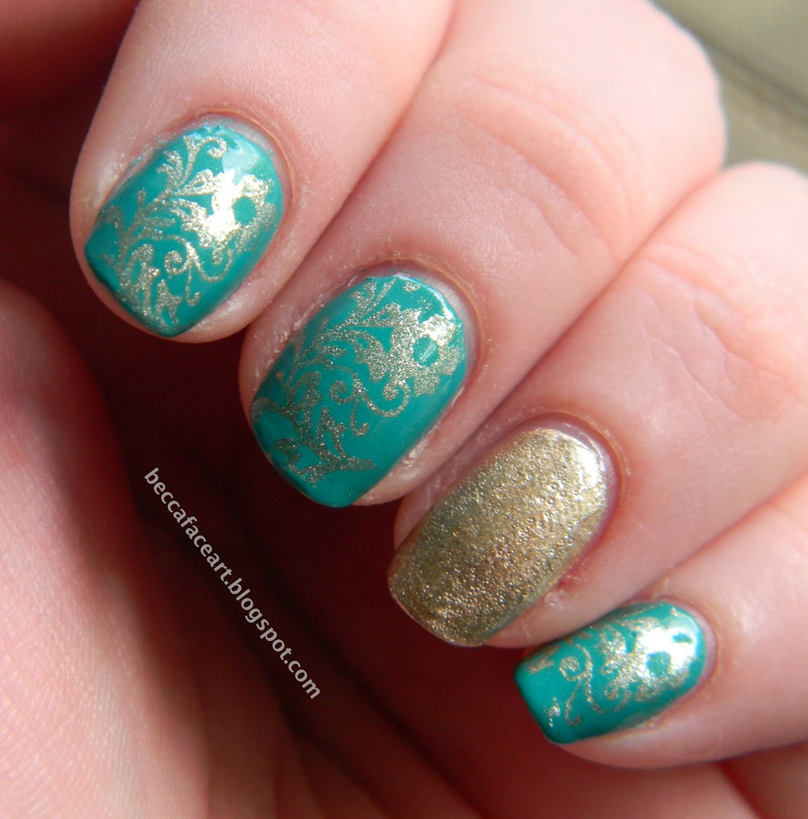Becca Face Nail Art: Turquoise And Gold Flower Nails