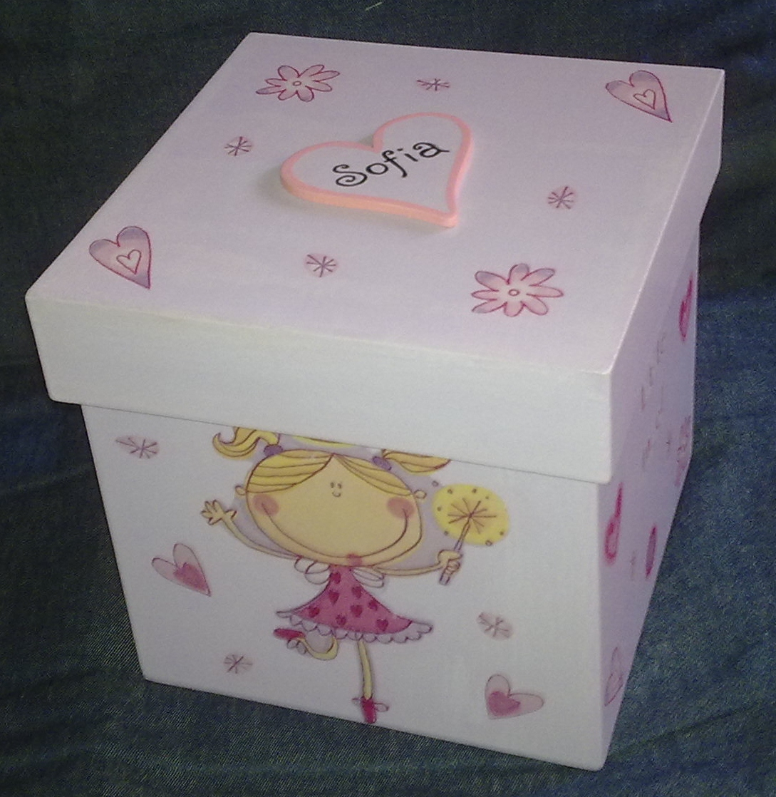Pupi artesan as caja cubo decoupage sofia - Cajas infantiles decoradas ...