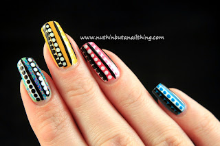 stripe polka dot nail art