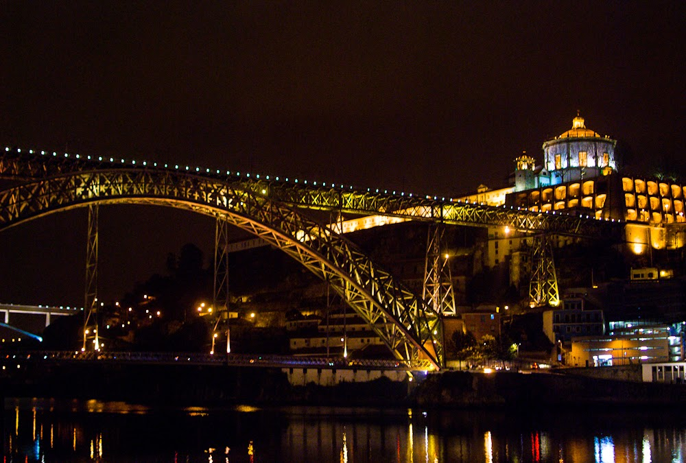 Porto Luís bridge and river night view