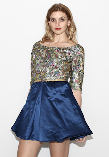 Vintage 1960's blue satin dolly mini dress with multi colored brocade top.