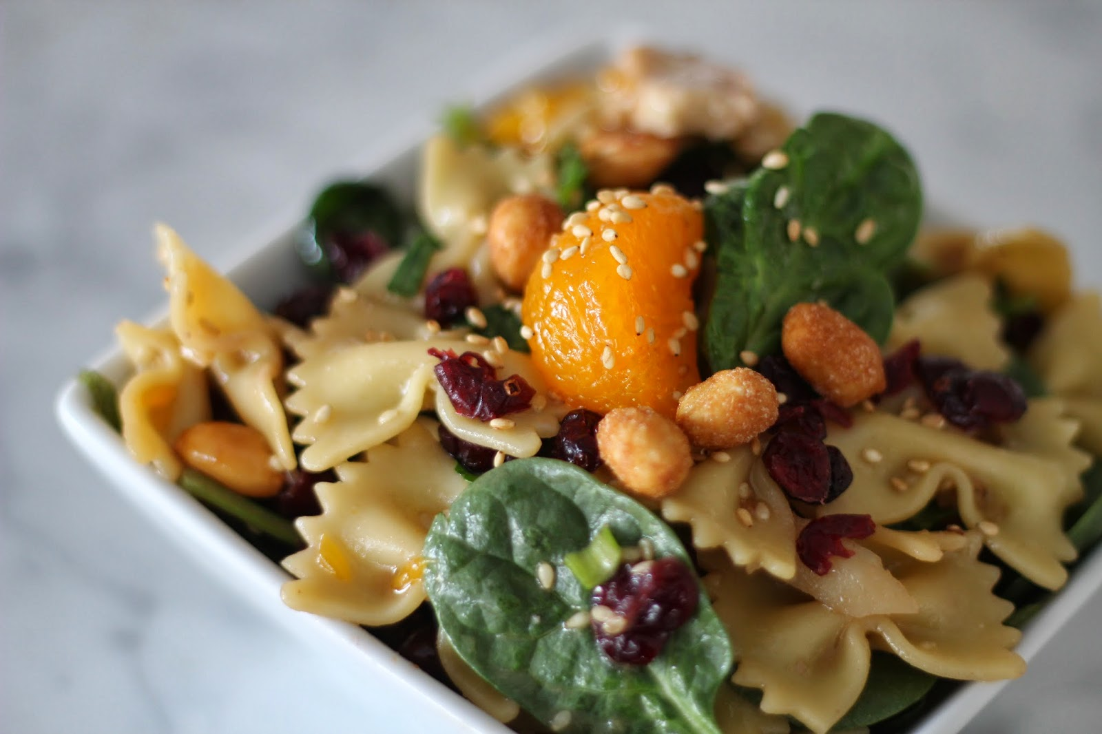 Bountiful Kitchen: Spinach, Chicken and Bowtie Pasta Salad for 100