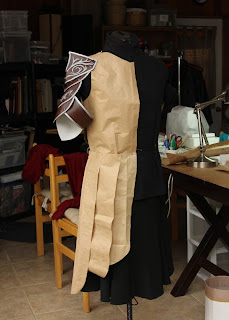 Lord Elrond Costume pattern on the dressform.