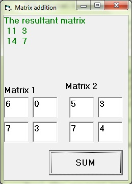 2D array to add two matrices