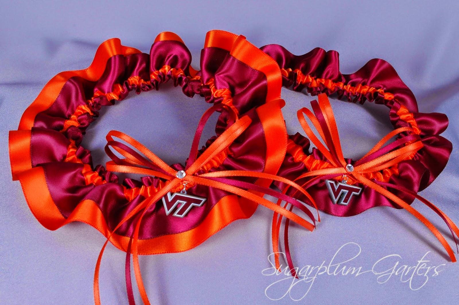Virginia Tech Hokies Wedding Garter Set by Sugarplum Garters