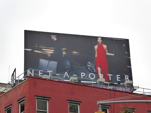 Net A Porter red dress billboard