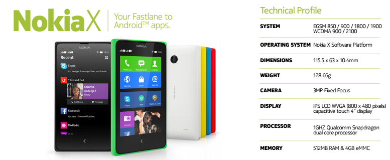 Nokia X specs Android-based phone
