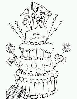 Dibujos de Cumpleaños para Pintar, parte 3