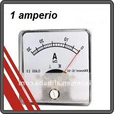 Lectura de un amperímetro para medir un amperio