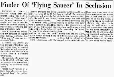 Finder of 'Flying Saucer' in Seclusion - The Herald-Tribune 3-7-1965