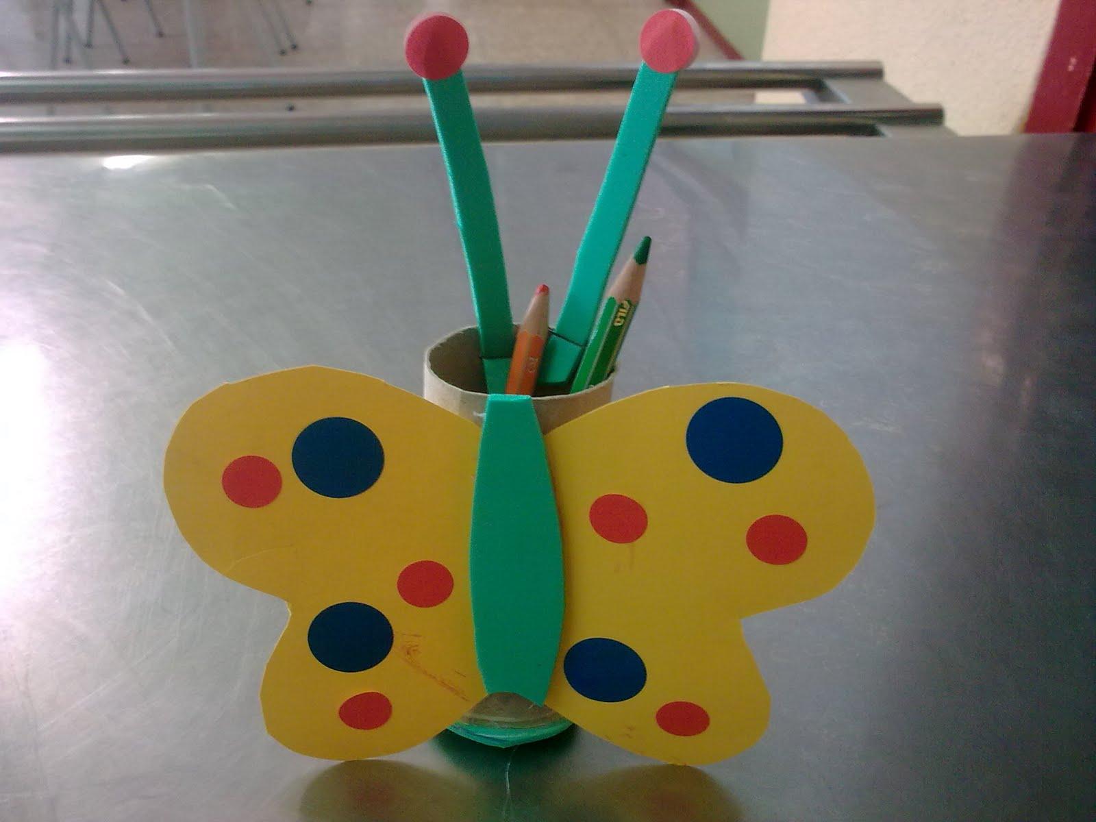 Manualidades escolares mariposas lapicero - Lapiceros reciclados manualidades ...