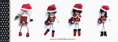 Susies, sixties, kokis, broches, fieltro, Christmas, navidad, muñecas, handmade