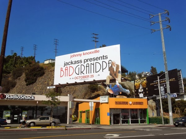 Jackass Bad Grandpa dangling kid billboard Sunset Boulevard