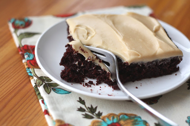 Rich Chocolate Cake {or cupcakes} with Salted Caramel Frosting recipe by Barefeet In The Kitchen
