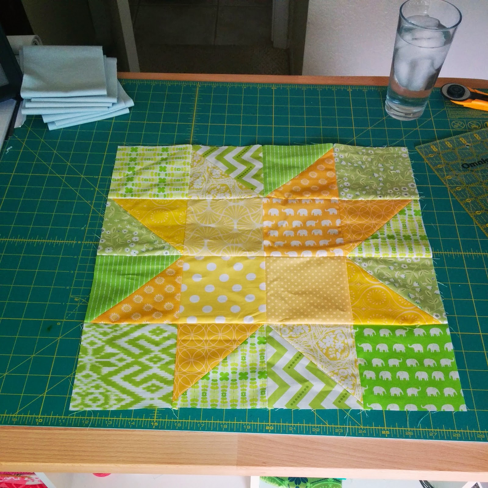 star in star wedding quilt progress 2