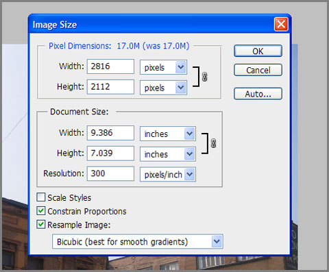 Image Size dialog in Adobe Photoshop
