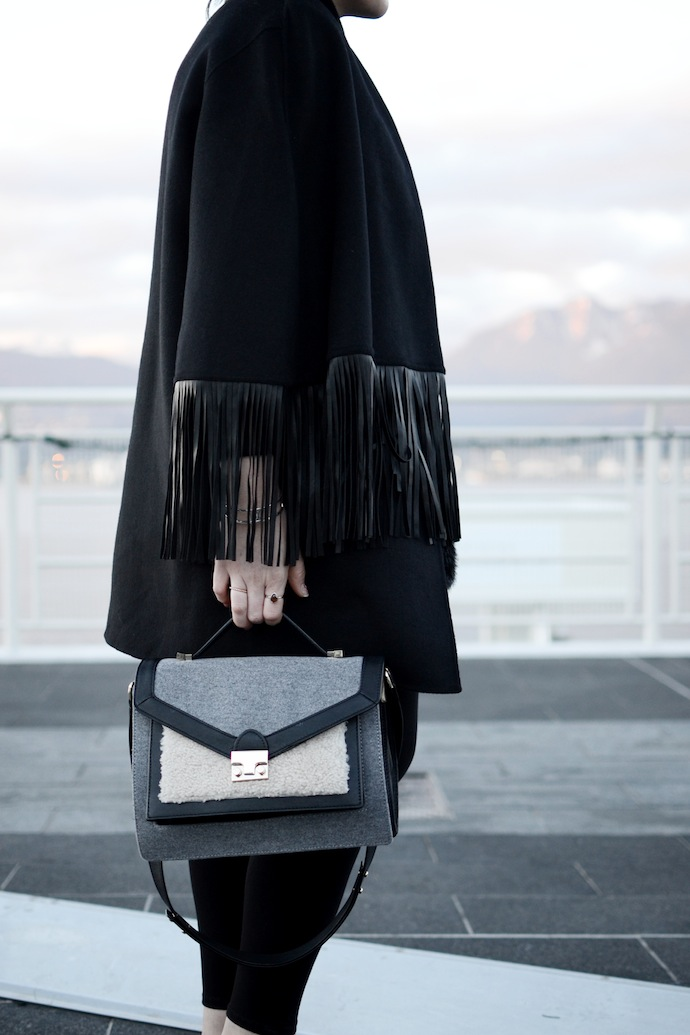BCBGMAXAZRIA fringe cape coat blogger Le Chateau turtleneck Loeffler Randall Rider bag shearling Vancouver fashion blogger
